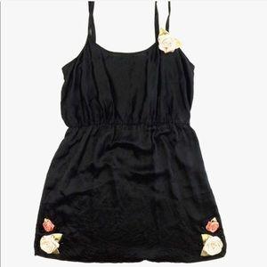 Anthropology Eloise silk slip dress black rose L